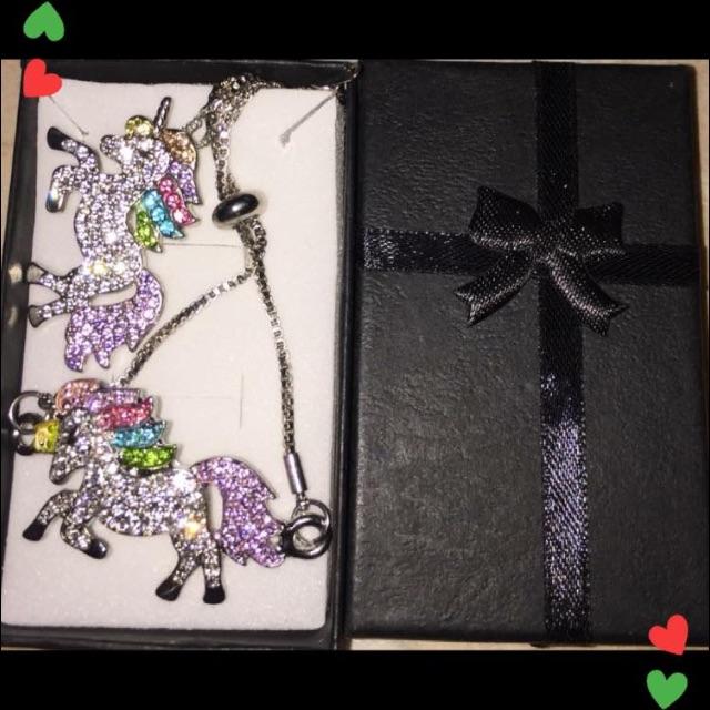 Girls unicorn bracelet & necklace set gift boxed