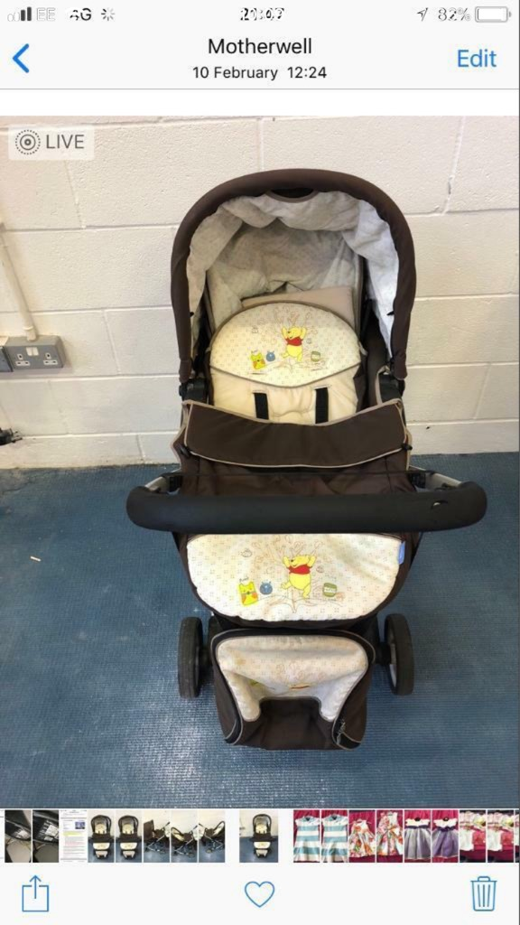 Winnie the Pooh pram/buggy with matching bag