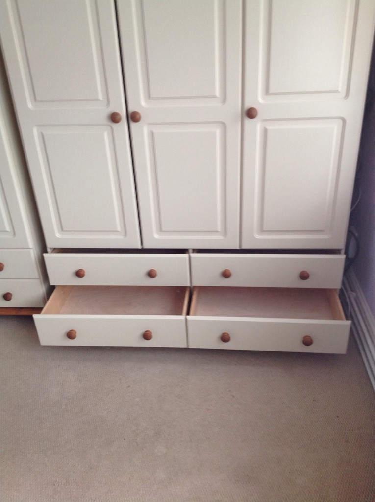 Cream and wood triple wardrobe (2 for sale )