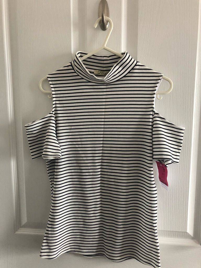 Innocence black and white stripy cold shoulder top