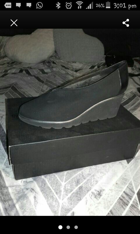 BLACK SUADE FUR LINED WEDGES