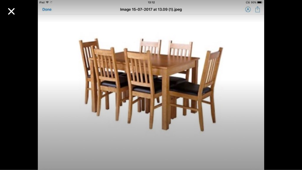 Oak extendable table for 4 to 6 people with 6 chairs