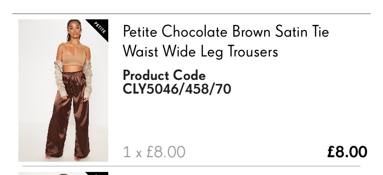 Petite chocolate brown satin tie waist wide leg trouser