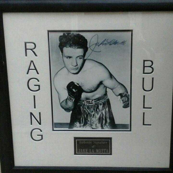 Signed framed picture of Jake La-Motta (Raging Bull)  48 x 48cm