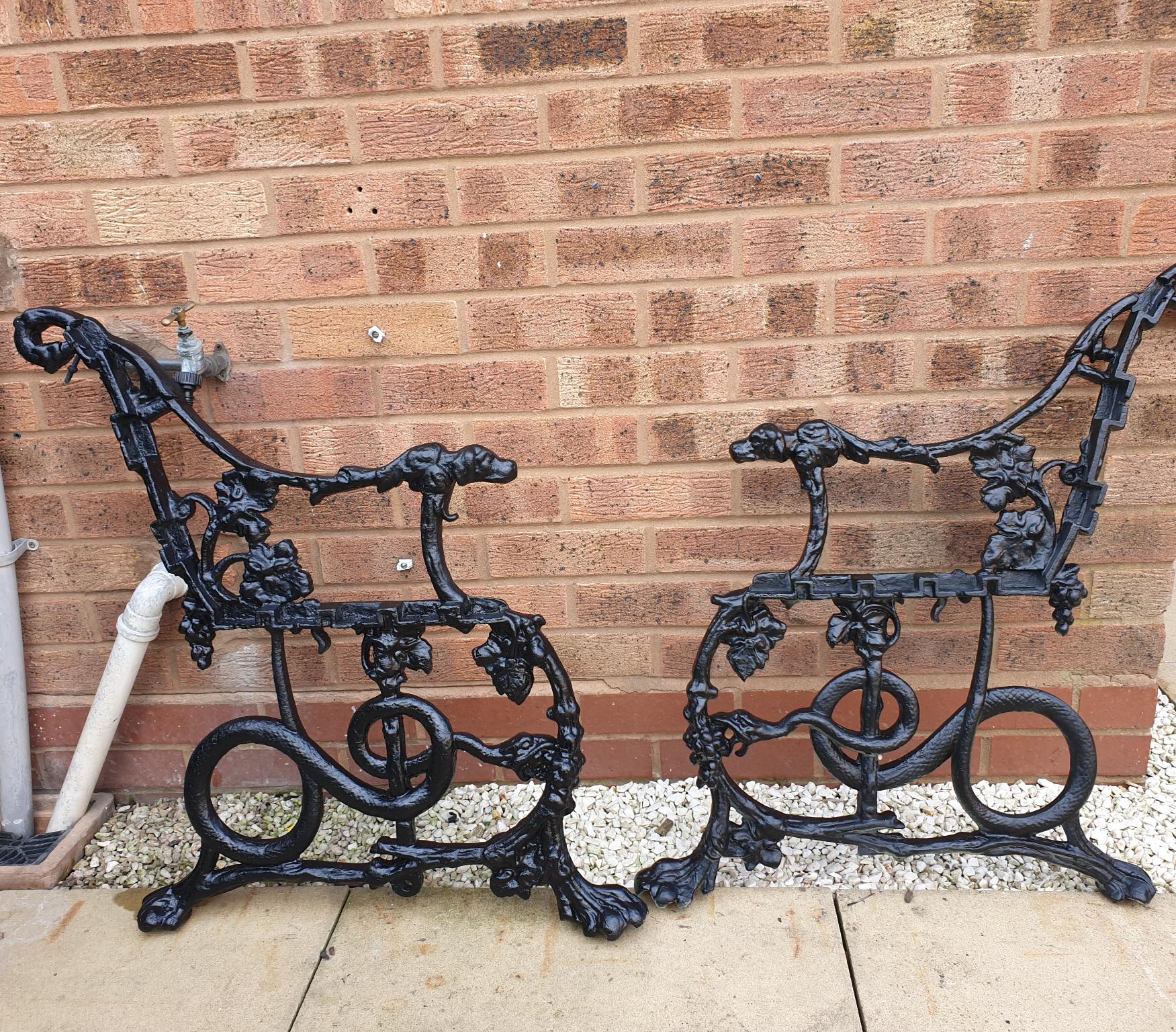 Antique Victorian Hounds Serpents Garden Bench