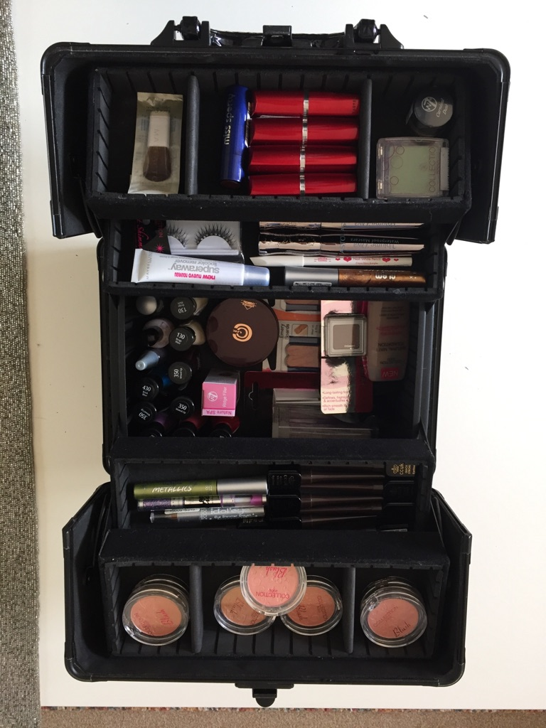 Vanity case packed with beauty products