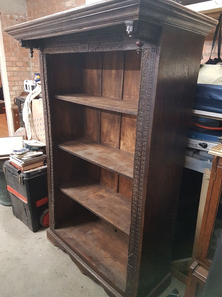 Hand Carved Wooden Bookcase