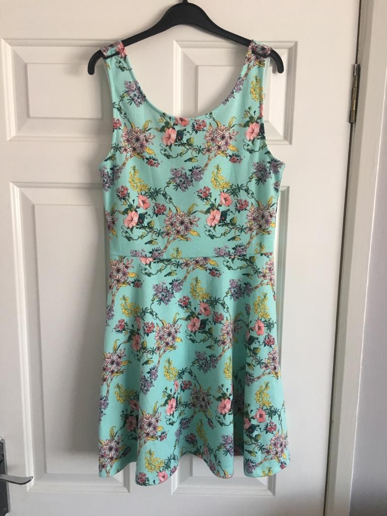 Mint floral skater dress