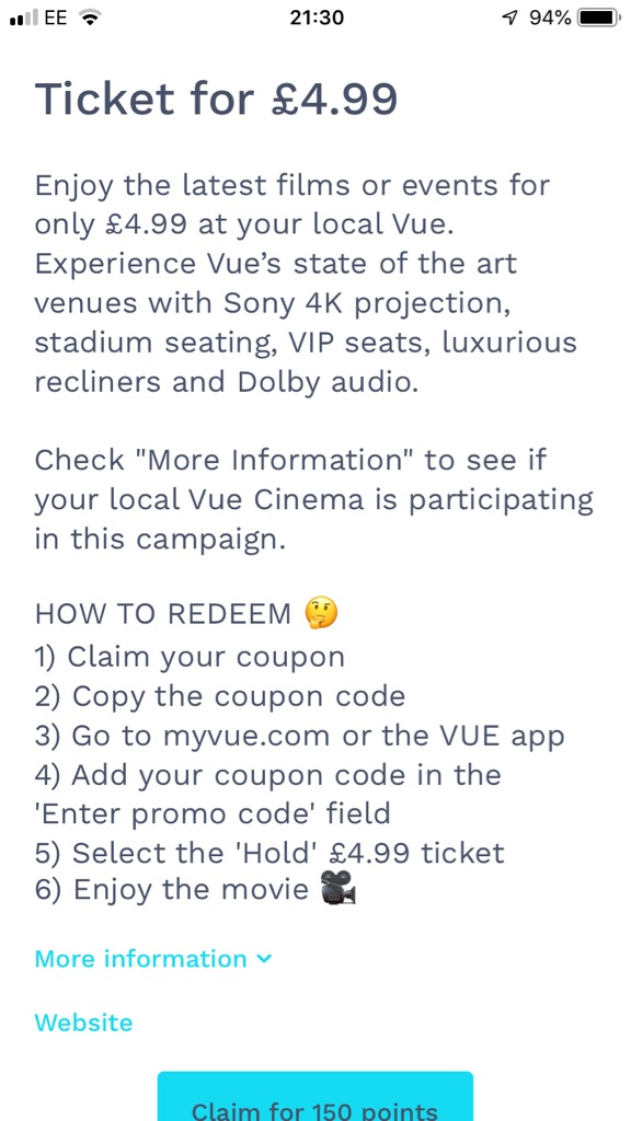 Discounted vue tickets +free popcorn