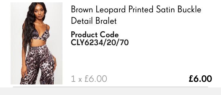 Brown leopard printed satin detail bralet