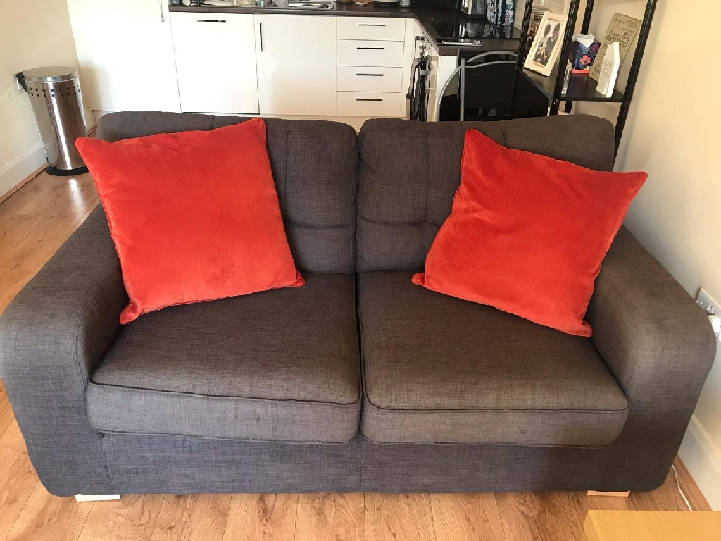 2 seater sofa, 2x single chairs plus 1x fabric foot stool