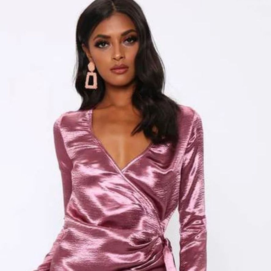 Dusky Pink Satin Wrap Mini Dress