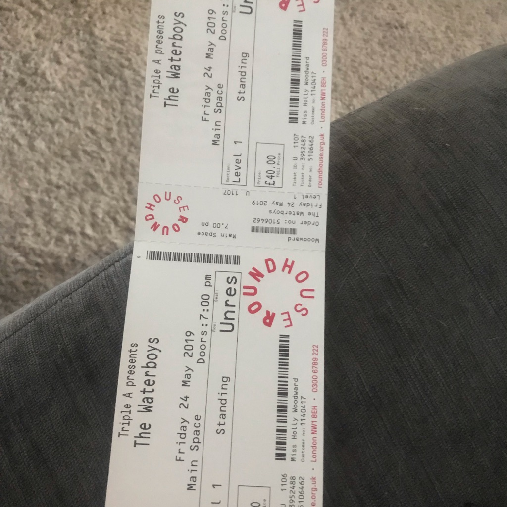 URGENT SALE WATERBOYS TICKETS FRIDAY 24 May the roundhouse x2