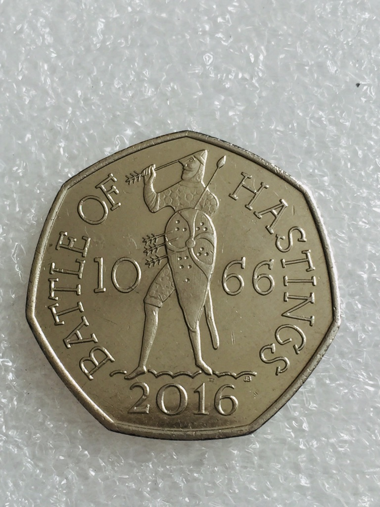 50p coin barrel of Hastings 2016 .