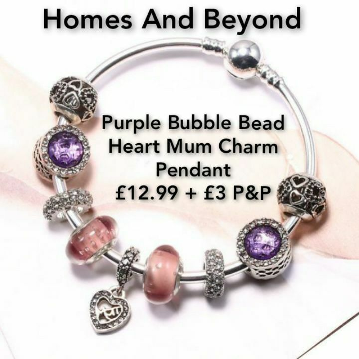 Purple Bubble Bead Heart Mum Charm Pendant❤