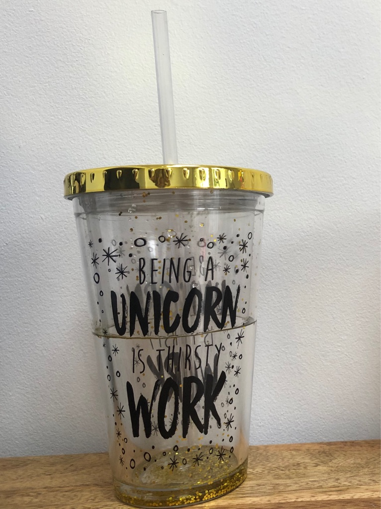 Gold Unicorn Straw Cup