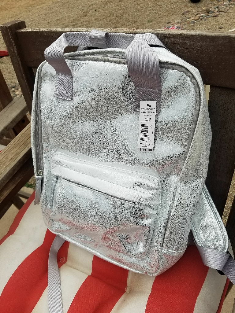 Glittery silver backpack