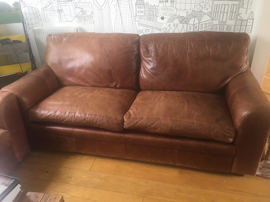 2 leather sofas (one sofa bed)