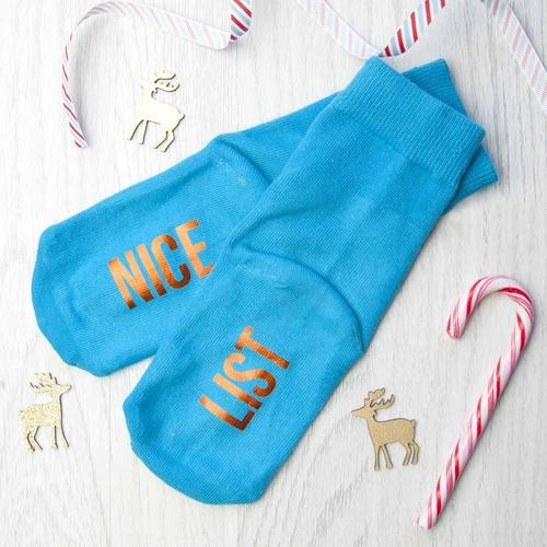 Personalised kids turquoise and terracotta orange Christmas Day socks