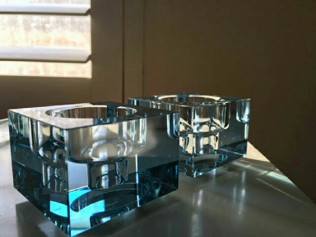 Orrefors Totem Balance Candlesticks- set of 2 blue
