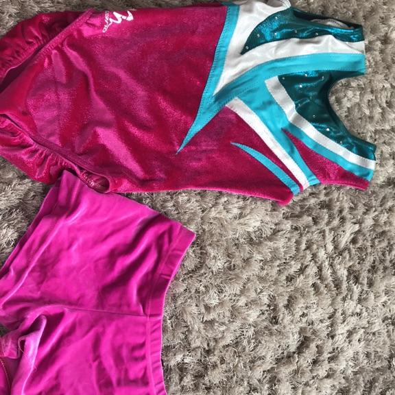 Girls gymnastics leotard and shorts size 30