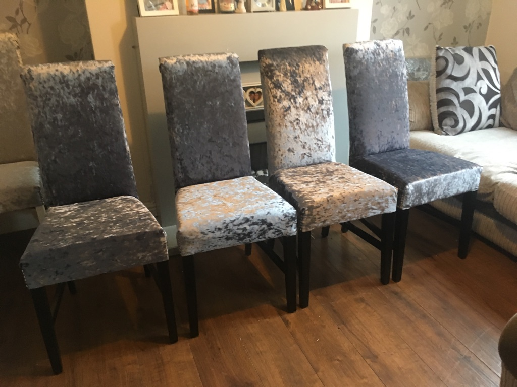 Newly upholstered slate grey crushed velvet chairs