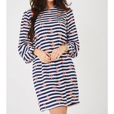 Chiffon dress in anchor and stripes print