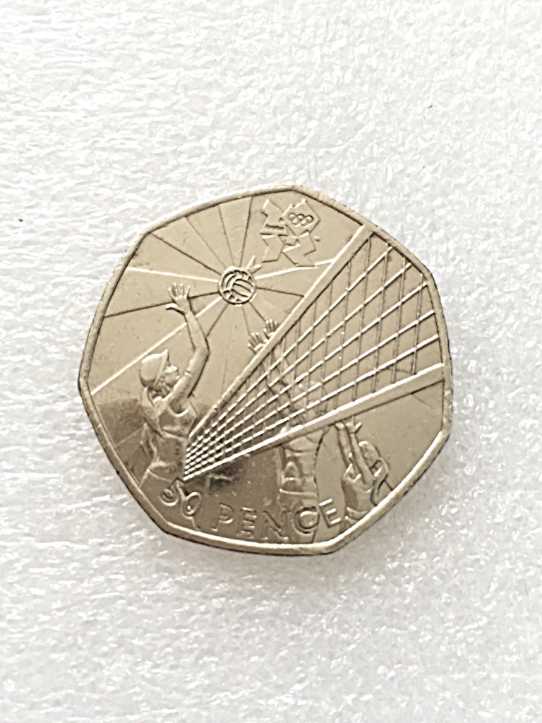 50p coin volleyball London Olympic Games 2011.