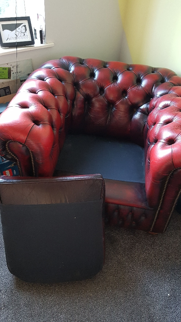 Oxblood Chesterfield tub chair