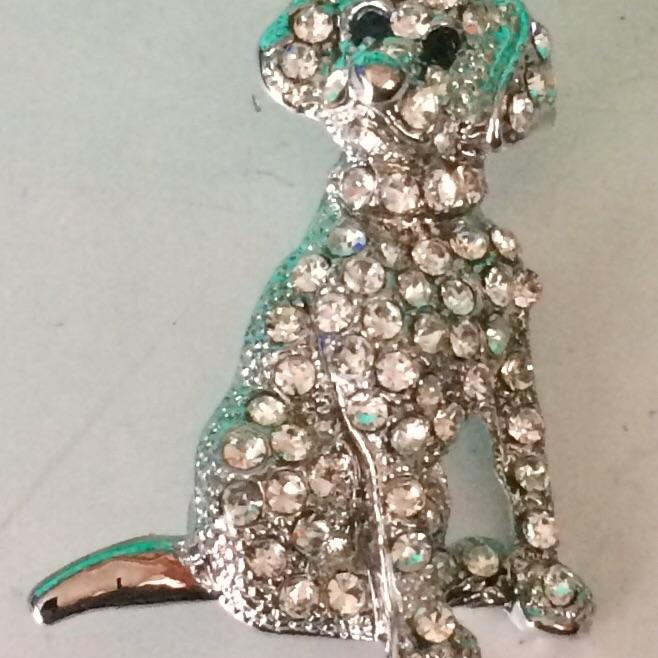 Gemstone dog brooch