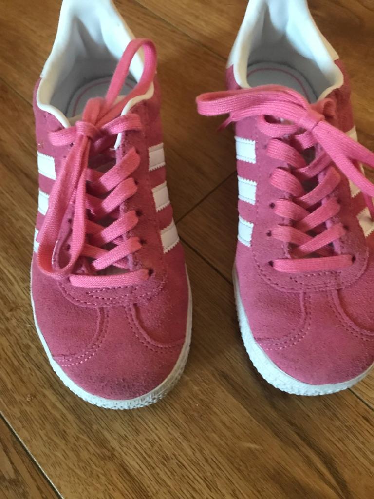 Pink girls Adidas gazelle trainers