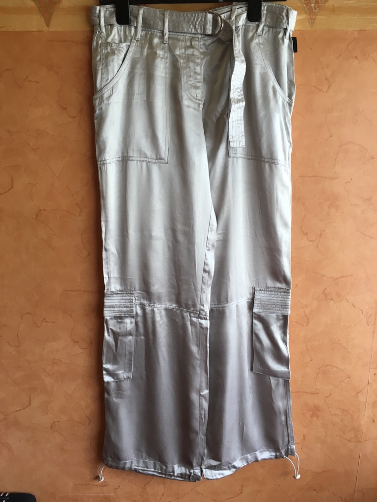 Betty Jackson studio design satin cargo trousers