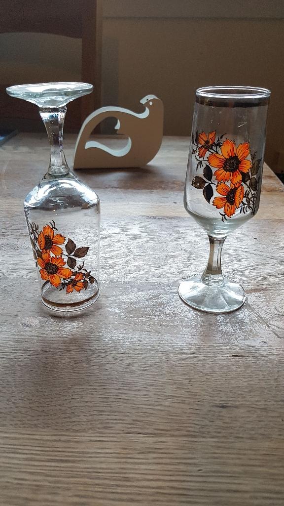 Retro Poppy Champagne Glasses (6)