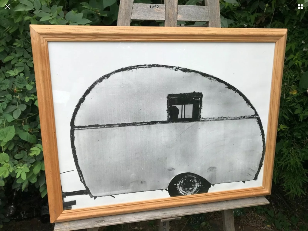 Air stream caravan moble home 30in 23in after L S Lowry