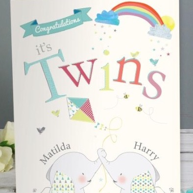 Personalised 'twins' greeting card