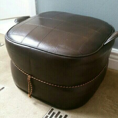 Genuine leather foot pouffe