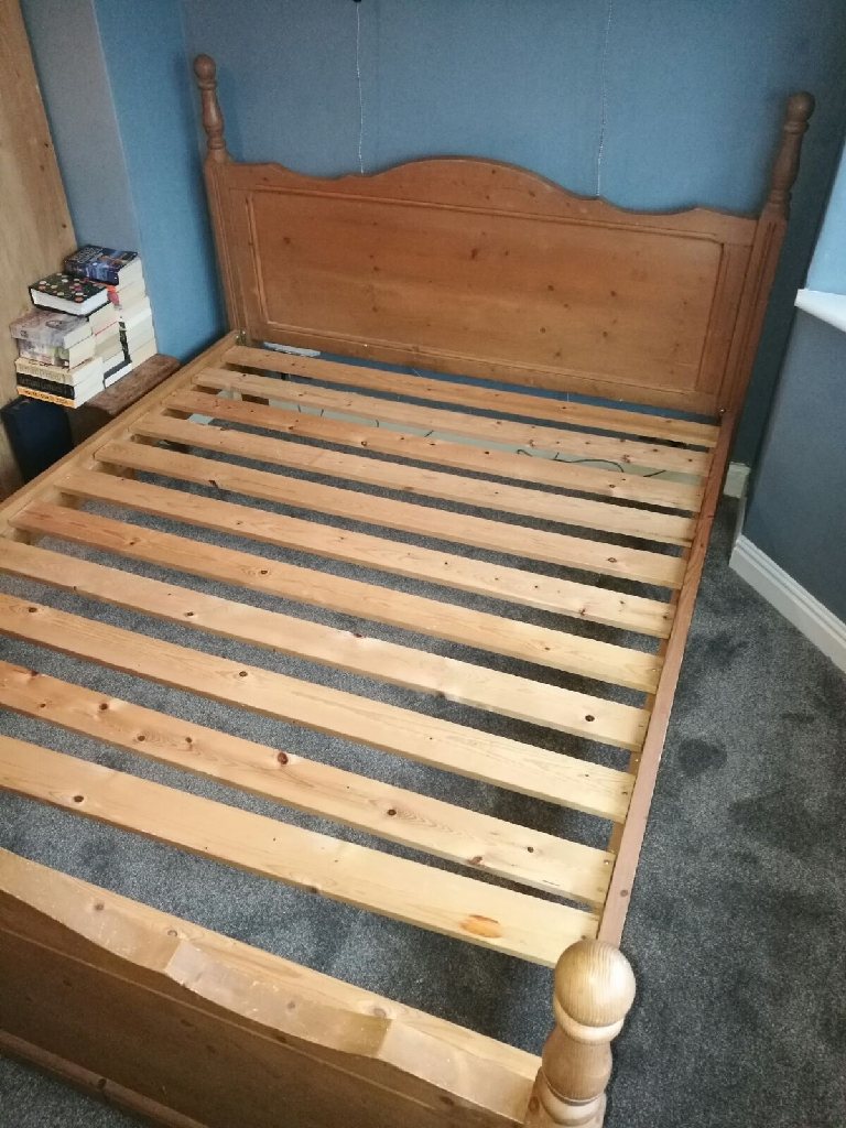 Antique Pine King Size Bed.