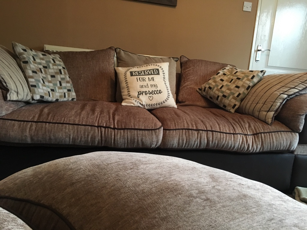 Large settee cuddle chair& stool