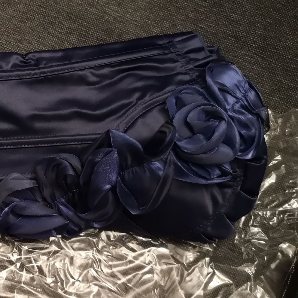 Navy blue Corset with floral detail