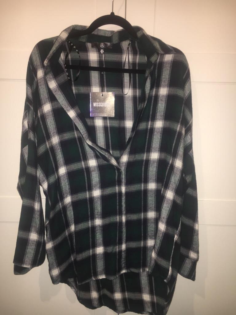 Ladies Oversized Plunge Check Shirt