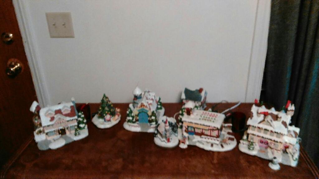 Ceramic Christmas village lights up