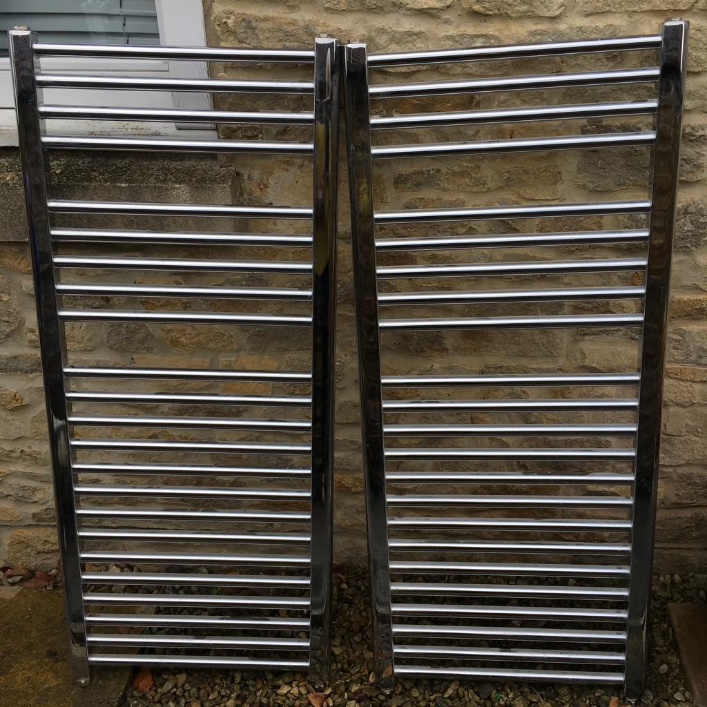 2 x 1200 x 500 Chrome Heated Towel Rails