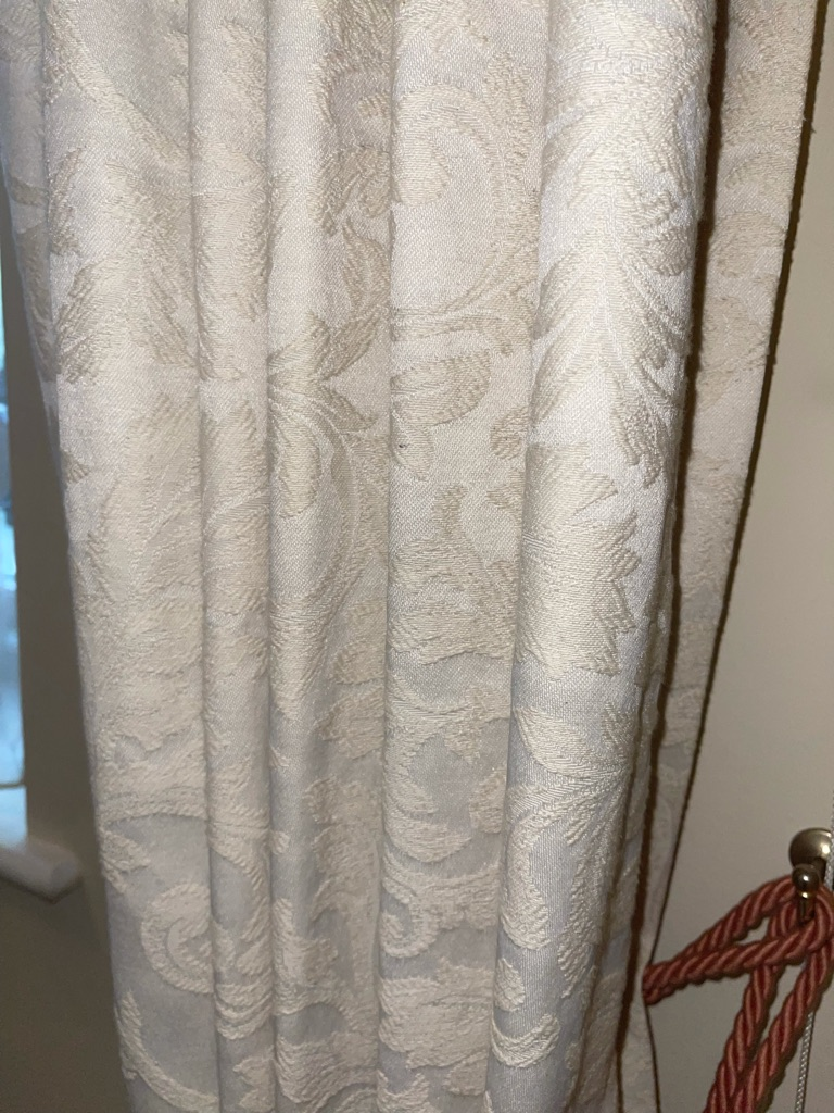 Cream Shimmer Patterned Curtains