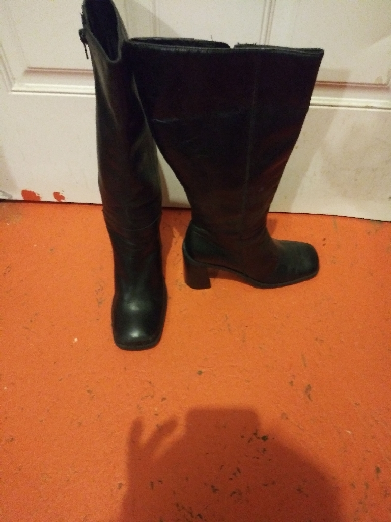Black Leather(Calf High)Boots