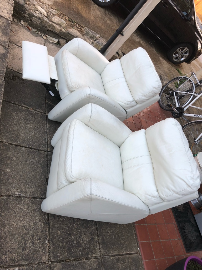 Cream Genuine Leather Armchairs