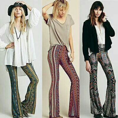 Green, Red and Black Print Boho Flare Pants