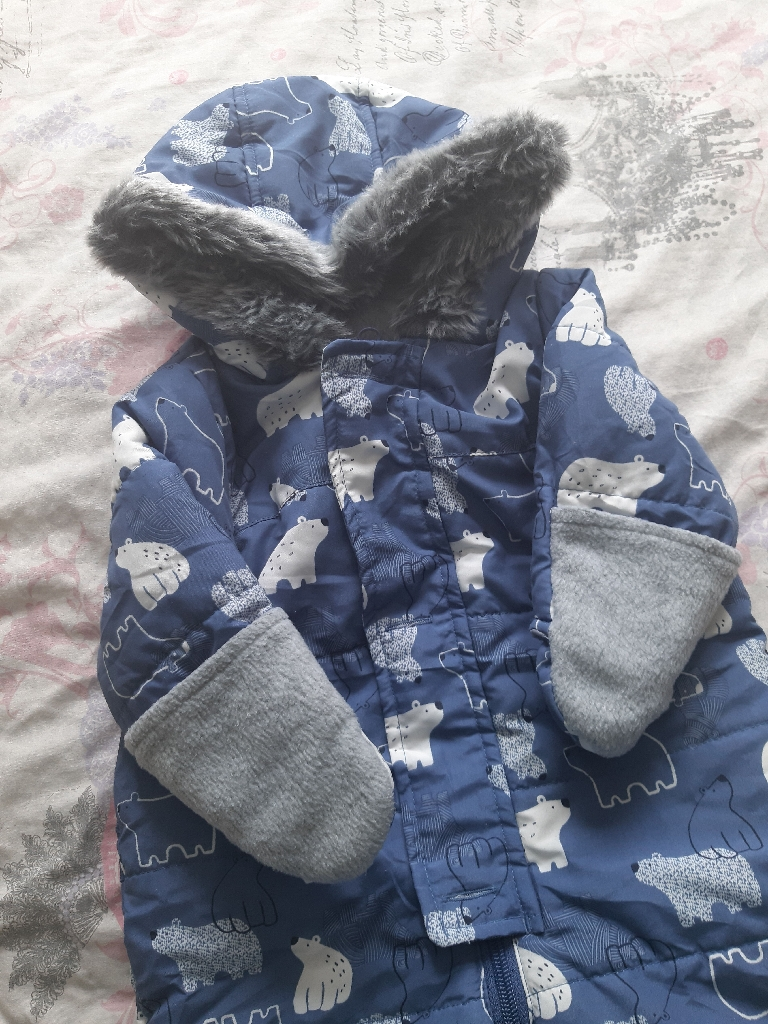 3-6 months polar bear snow suit
