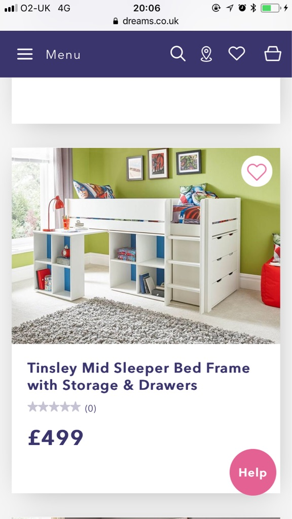 White dreams mid sleeper single children's bed