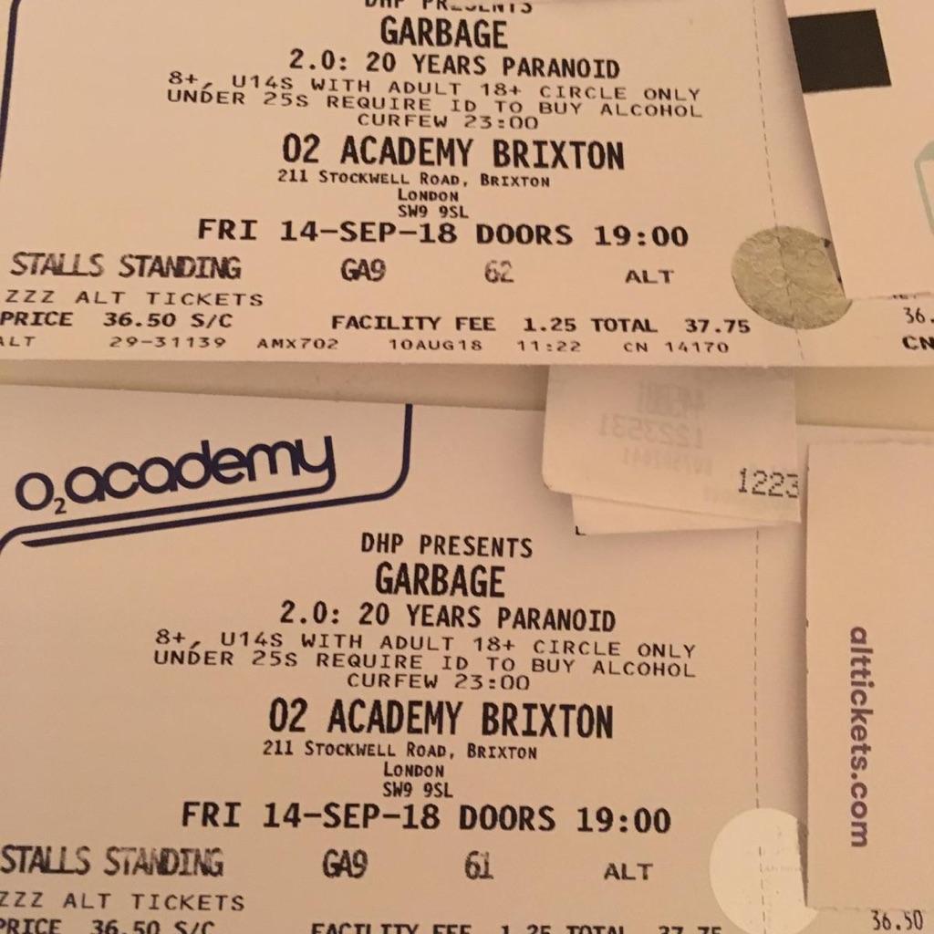 Garbage tickets o2 acadamy