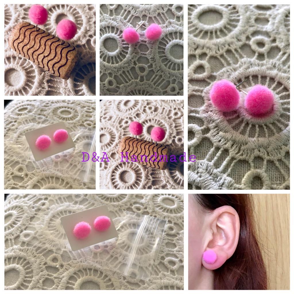 Pink 🍬 Handmade 🙌Earrings Pom Pom